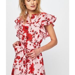 Zara linen floral ruffle midi dress pink red S